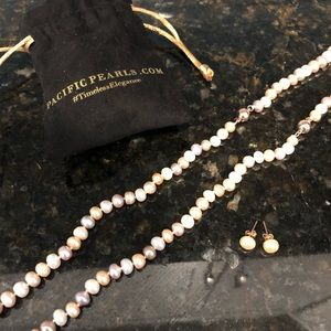 New Pacific Pearls pearl necklace and earrings set